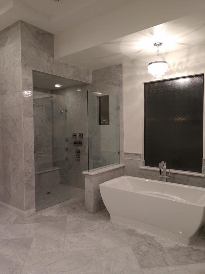 Sleek and Modern Marble Bathroom
