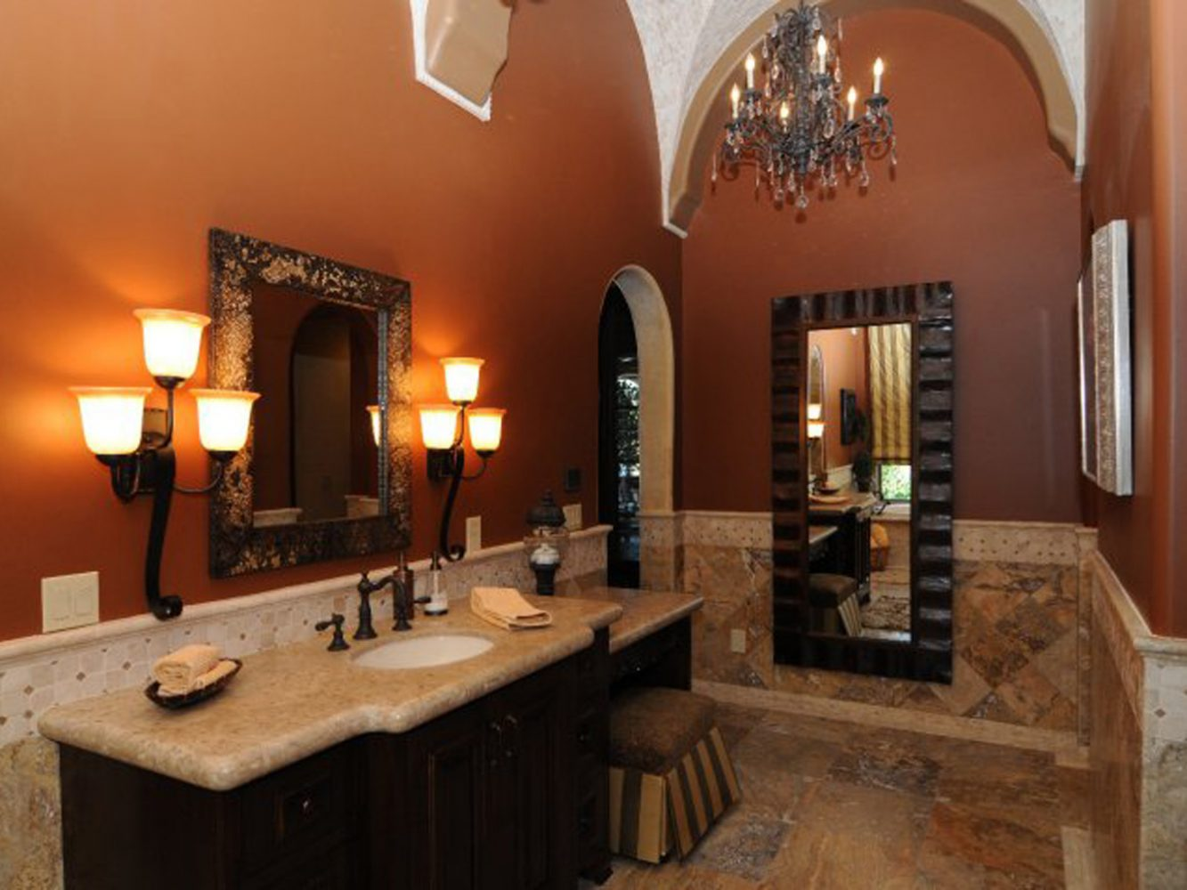 Warm Lighting Bathroom Sink