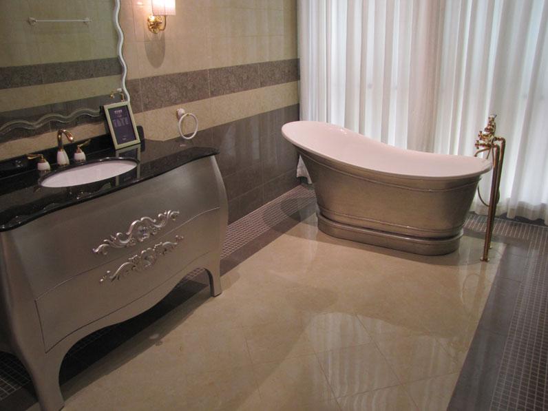 Porcelain Tile Bathroom with a Freestanding Bathtub