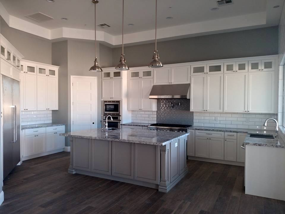 White Kitchen Cabinets and Grey Countertops