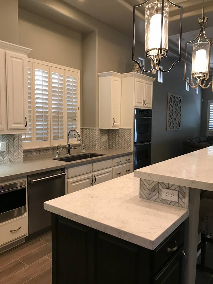 White Cabinets with White Island Counter