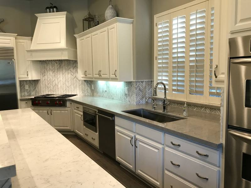 White Cabinets with White and Grey Countertops