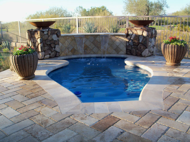 Pool Pavers with Waterfall
