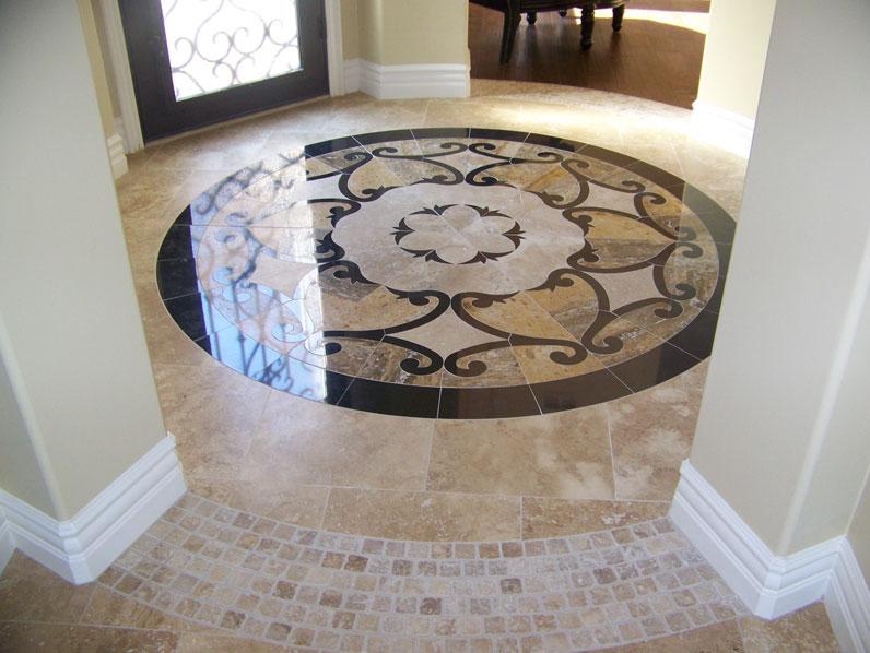 Tan and Black Medallion Flooring